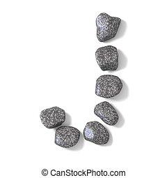 Font made of rocks LETTER J 3D render illustration isolated...