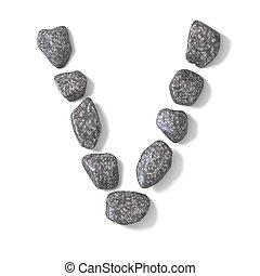 Font made of rocks LETTER V 3D render illustration isolated...