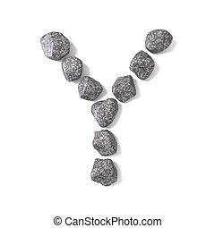 Font made of rocks LETTER Y 3D render illustration isolated...