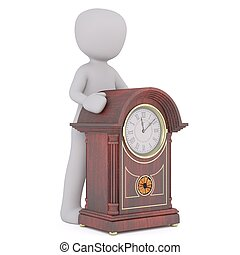 3d man with grandfather clock 94 - 3d man with grandfather...