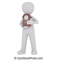 3d man with grandfather clock