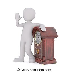 3d man with grandfather clock 97 - 3d man with grandfather...