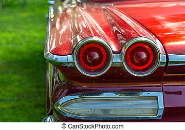 Taillight of Vintage Automobile - A taillight on the rear of...