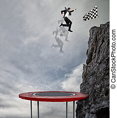 Businessman jumping on a trampoline to reach the flag....