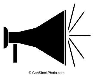 bullhorn or megaphone - silhouette of black bullhorn or...
