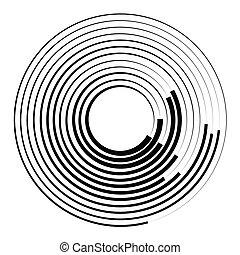 círculos, Irradiar, gráfico,  radial, concéntrico, geométrico, elemento,  circular