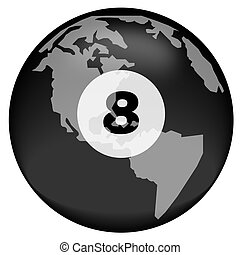 earth or globe with eight ball overlay