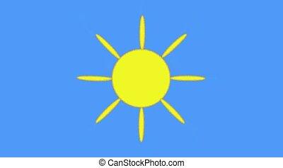Sun on sky - Cartoon sun with ray on turn blue sky