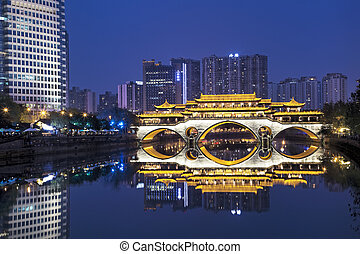 Anshun Bridge across the Jin River in Chengdu, China -...