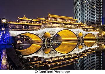 Anshun Bridge across the Jin River in Chengdu, China -...