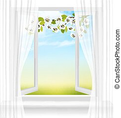 Nature background with open window and spring blossom of cherry. Vector
