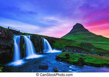 Kirkjufellsfoss - Colorful sunrise on Kirkjufellsfoss...