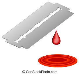 3d razor blade with blood dripping into pool - self...