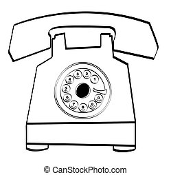 rotary style telephone - black outline of retro rotary style...
