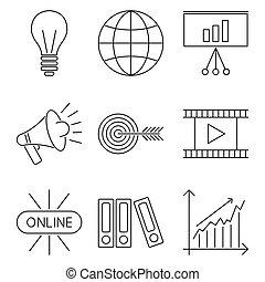Illustration business webinar and online education outline...