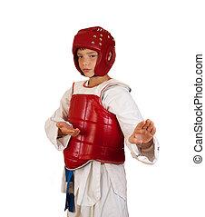 taekwondo - The boy in sportswear for employment taekwondo...