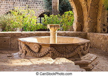 Water fountain. Outdoor Fountain park. Garden fountains. -...