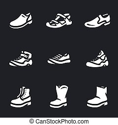 Vector Set of Footwear Icons. - Shoes, slates, sneakers,...