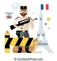 Vector France Police. Ensuring security in the capital. Flat...