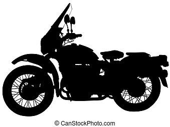 Retro motor vehicle four - Old big bike on white background
