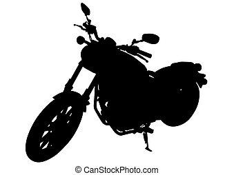 Retro motor vehicle one - Old big bike on white background