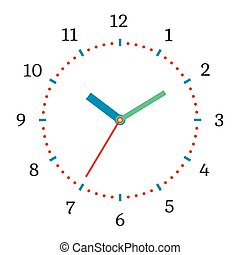 Vector illustration of mechanical clock. Clock face on white...