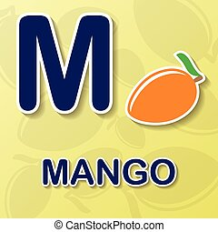 Mango alphabet background - Mango symbol with letter M ana...