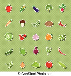 Vegetable silhouettes stickers