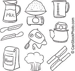 Kitchen set hand draw doodle style vector illustration
