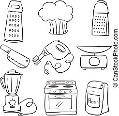 Doodle of kitchen equipment hand draw vector illustration