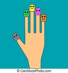 Smiley face on fingers