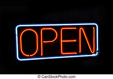 Neon open sign against black - Neon open sign against a...