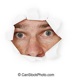 Scared person hiding in hole - The scared person hiding in a...