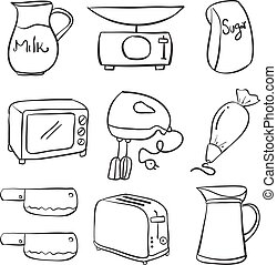 Hand draw kitchen equipment doodles