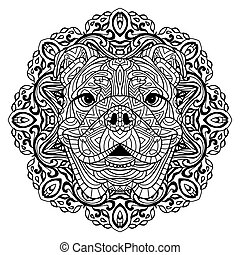 Coloring book for adults. The head of a dog with a circular...