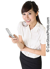 Happy business woman using cellphone with copyspace on white...
