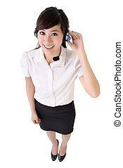 Asian customer service - Full length portrait of Asian...