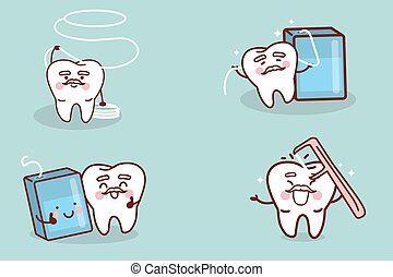 senior tooth with floss - cute cartoon senior tooth with...