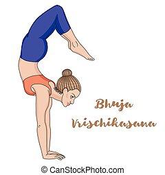 Women silhouette. Arm Balance Scorpion Yoga Pose. Bhuja Vrischikasana