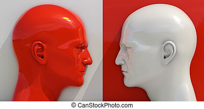 Schematic Image of Confrontation: Two Man Arguing and...