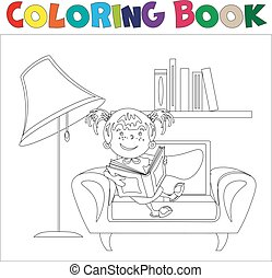 Coloring book Girl with book