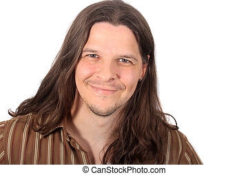 Handsome long haired man - Handsome man with long brown hair...