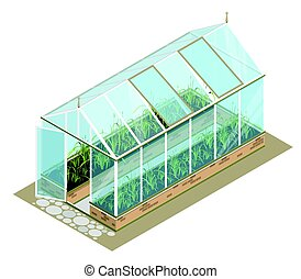 Isometric greenhouse with glass walls, foundations, gable...