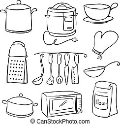 Hand draw of kitchen equipment doodles vector illustration