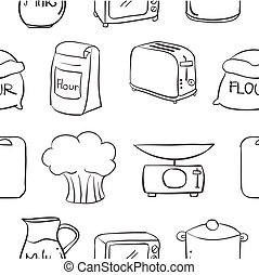 Doodle of kitchen equipment various vector illustration
