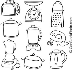 Doodle of kitchen equipment style vector illustration