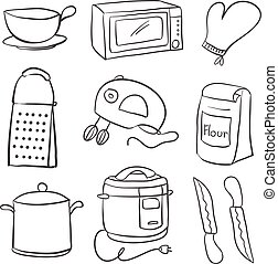 Doodle of equipment kitchen object vector illustration