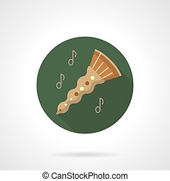 Oboe melody flat color round vector icon - Abstract oboe...