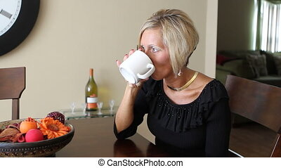 Woman Thinking With Drink