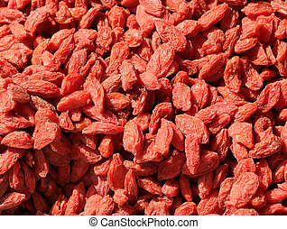 Red dried goji berries with many nutritional properties -...
